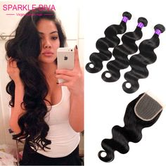Grade 8A Brazilian Virgin Hair Body Wave With Closure Unprocessed Human Hair Bundles With Lace Closure Cheap Brazilian Body Wave