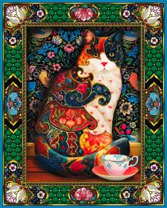 Painted Cat another beautiful 1,000 Piece Jigsaw Puzzle If you love #cats you'll most certainly enjoy this Tapestry Cat #JigsawPuzzle.The picture alone draws you in! Challenging but Worth The effort! Perfect #gift for anyone who likes Cats and Tapestry Art. http://jigsawpuzzlesforadults.com/tapestry-cat-jigsaw-puzzle/