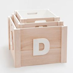 WOODEN LETTERS STORAGE BOX