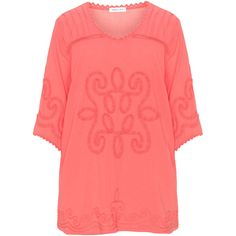 Mona Lisa Coral-Orange Plus Size Embroidered cotton tunic (1.515 ARS) ❤ liked on Polyvore featuring tops, tunics, plus size, orange tunic, embroidered cotton tunic, bell sleeve tunic, embroidered tunic and 3/4 sleeve tunic