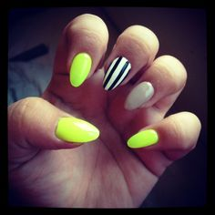 Yellow Stripped Nails Art