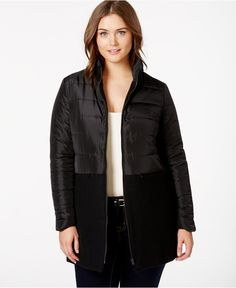 Junarose Plus Size Quilted-Combo Puffer Coat - Jackets & Blazers - Plus Sizes - Macy's