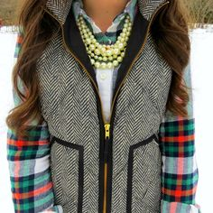 Love the flannel/vest/pearl combination! The different sizes of pearls makes it a really unique look I Pay, Juicy Couture, Flannel, Product Description, Medium, Blazer, Fashion Tips, Unique, Pearls