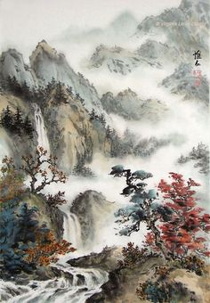 56 Ideas For Chinese Landscape Art Chinese Landscape Painting, Oil Painting Abstract, Chinese Painting, Landscape Art, Landscape Paintings, Chinese Drawings, Japan Painting, Art Asiatique, Japanese Artwork
