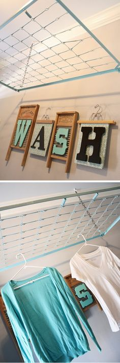 Have a DIY laundry room makeover with these creative laundry room organization ideas! Whether you're in need of a laundry room remodel on a budget or just looking for some laundry room storag… Laundry Room Drying Rack, Laundry Room Organization, Laundry Room Design, Laundry In Bathroom, Diy Organization, Drying Racks, Laundry Storage, Storage Bins, Storage Ideas