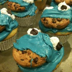 """We totally nailed it! me and @Kristi_Herrmann version of the awesome """"nailed it"""" cookie monster cupcakes. Happy Birthday Nugget!"""