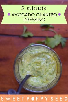 Creamy and hearty, this 5 minute dressing is perfect for salads, roasted veggies, sandwiches and dips! Real Food Recipes, Vegan Recipes, Delicious Recipes, Cake Recipes, Avocado Cilantro Dressing, Fancy Dinner Recipes, Good Food, Yummy Food, Vegan Foods