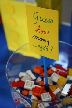 Guess how many Legos game..try this with guess how many crayons for our party..