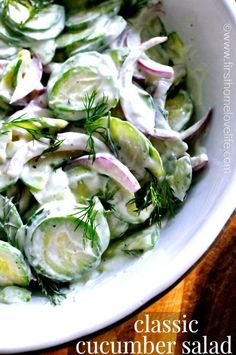 This summertime classic will warp you back in time! Creamy Dill Cucumber Salad is a hit at any BBQ! Simple and cheap to make, but jam packed with flavor!