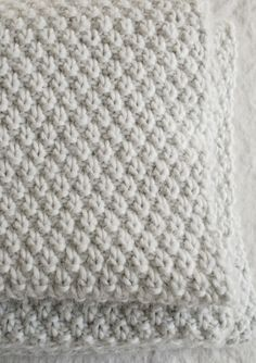 Double Seed Stitch Blanket