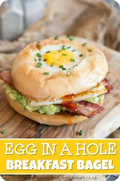 This Breakfast Bagel is loaded with Bacon, Halloumi, Avocado and Chilli Jam. Topped with an Egg in a Hole, this truly is the BEST Breakfast Bagel Recipe! Brunch Recipes, Gourmet Recipes, Breakfast Recipes, Cooking Recipes, Egg Bagel Recipes, Cocktail Recipes, Monte Cristo Sandwich, Bagels, Egg In A Hole