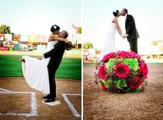 Baseball wedding pictures Like the one with bouquet. The couple look like they are standing on the flowers