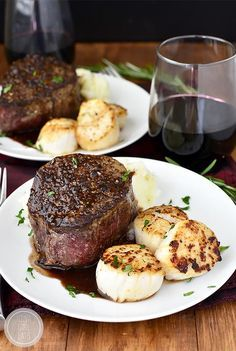 Surf and Turf for Two with sea scallops and filet mignon with rosemary-wine pan sauce is an elegant, decadent dish to make with a loved one at home! #glutenfree #valentinesday   iowagirleats.com