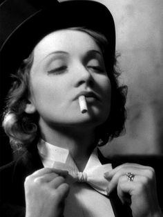 Marlene Dietrich is the doyenne of playing with gender conformity in her sartorial decisions.