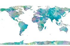 World Map Watercolor Taidevedos