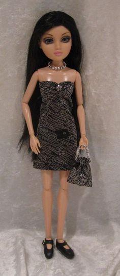 """MOXIE TEENZ 14"""" Doll Clothes #21 Handmade Dress, Beaded Necklace & Purse Set #HandmadebyESCHdesigns"""