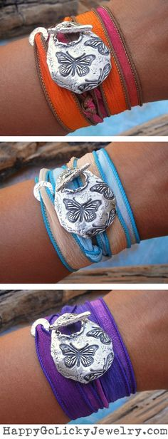 Butterfly Jewelry Gift, Unique Butterflies Silk Wrap Bracelets by HappyGoLicky | CLICK & use coupon code PIN10 to save 10% now