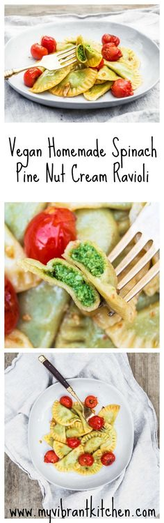 My Vibrant Kitchen | Homemade Vegan Spinach Pine Nut Cream Ravioli | http://myvibrantkitchen.com: