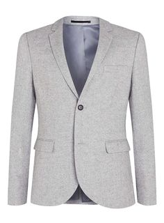 Light Grey Blazer With Contrast Back Neck - Topman