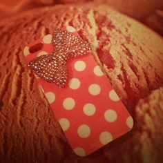 Pink polka-dot IPhone case <3