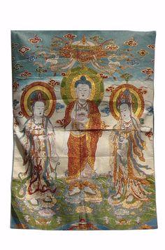 Chinese Buddha Kwan Yin Loom Tapestry Art cs902S