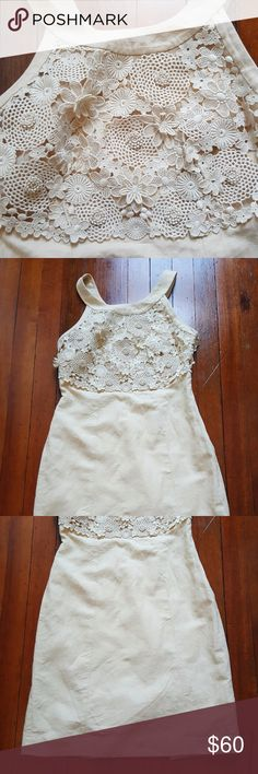 """EEUC Anthropologie Floral Crochet Shift Dress This BEAUTIFUL dress features floral crochet detailing, a side-zip, snaps for your bra straps, and a lining! Perfect for baby showers, sorority events or date night.   Armpit to Bottom of Dress: ~ 27.5"""" Armpit to Armpit: 16""""   55% Cotton, 45% Linen Anthropologie Dresses"""