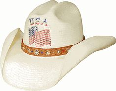 """Only In America"" Natural Shantung Straw Cowboy"