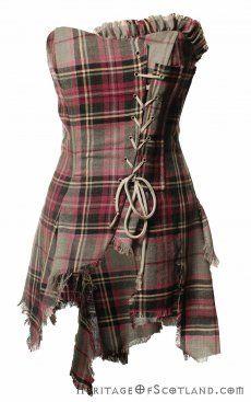 Bella Plaid Corset, Grey Purple LA Check | Kilts and Scottish Kilts from Edinburgh.