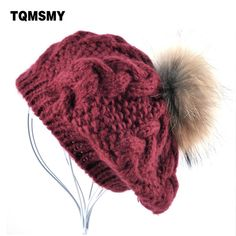 f02a5787e2f New Winter women hat Berets knit wool pompom beret ladies flat cap bone  gorras Planas boina Real raccoon fur ball hats for women