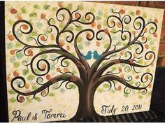 Zac can paint this! Wedding Thumbprint Tree Custom painted 16 x 20 stretched Canvas guest book