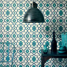 Alhambra Palace Summer wallpaper by Fired Earth Tile Wallpaper, Retro Wallpaper, Feature Wallpaper, Wallpaper Designs, Geometric Wallpaper, Wallpaper Ideas, Retro Living Rooms, Living Room Photos, Palace Shop