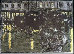 Street at Evening in the Rain (Rue, le soir, sous la pluie) / Pierre Bonnard, 1899
