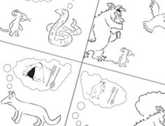 The Gruffalo Story Sequencing (black and white) activities. Gruffalo Activities, Color Activities, Learning Activities, Kids Learning, Visual Literacy, Education And Literacy, Pie Corbett, Julia Donaldson Books, Read A Thon
