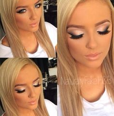 Smokey eye make up gold shimmer