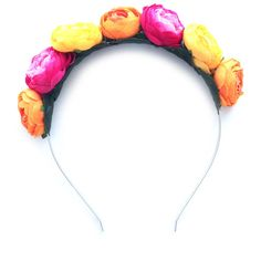 Crown and Glory Ranunculus Headband in Tutti Frutti (45 AUD) ❤ liked on Polyvore featuring accessories, hair accessories, multicolour, head wrap headband, hair bands accessories, headband crown, flower crown and hair band headband