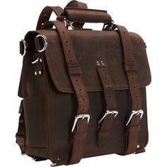 "Vagabond Traveler 13"" Tall Leather Laptop Backpack Brief Dark Brown   Vagabond Traveler Non-Wheeled Business Cases"