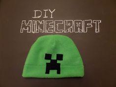 Minecraft Creeper Hat - Crafts For Boys Fleece Hat Pattern, Hat Patterns To Sew, Crochet Patterns, Clothing Patterns, Knitting Patterns, Sewing Patterns, Minecraft Hat, Minecraft Crafts, Minecraft Stuff
