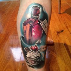 Alice in Wonderland 'Eat Me, Drink Me' Tattoo by Fabz -The Black Mark Tattoo
