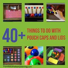 40 Things to Do with the Pouch Caps and Lids – From This To That Early Learning Toddler Learning, Fun Learning, Learning Activities, Early Learning, Preschool Crafts, Toddler Activities, Preschool Activities, Preschool Prep, Baby Crafts