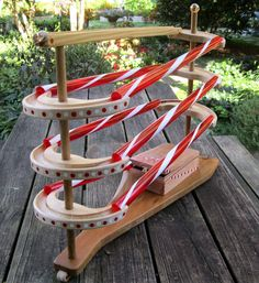 marble run - I would cut the tubes in half so as to be able to see the marbles running. Old Fashioned Toys, Marble Machine, Marbles, Track, Artsy, Woodworking, Lost, Running, Car