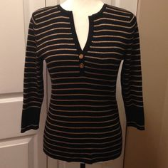 Ralph Lauren Gold and Black Stripe Sweater Very nice and in very good condition. Logo buttons. Beautiful metallic gold stripes. Ralph Lauren Sweaters V-Necks