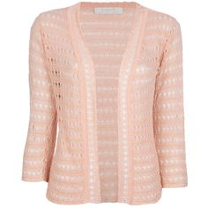 KRISTINA TI crochet knit cardigan ($170) ❤ liked on Polyvore featuring tops, cardigans, sweaters, shirts, crochet cardigan, pink top, crochet knit cardigan, crochet shirt and three quarter sleeve shirts