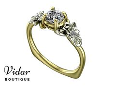 Flower Engagement Ring, Unique Engagement Ring, Two Tone Gold Ring By Vidar Botique, Yellow Gold Engagement Ring, Leaves Ring, Vintage Ring, Unique Diamond Engagement Ring, Unique Two Tone Gold Engagement Ring