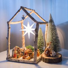 My son wanted a nativity scene this year. When I was little . - My son wanted a nativity scene this year. When I was little, we used to have something like that at - Rustic Christmas, Winter Christmas, Christmas Holidays, Merry Christmas, Christmas Decorations, Xmas, Christmas Ornaments, Diy Nativity, Christmas Nativity Scene