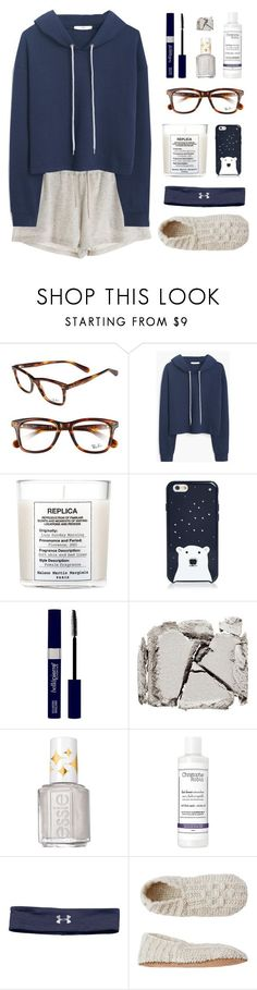 """Lazy Day"" by amazing-abby ❤ liked on Polyvore featuring Ray-Ban, MANGO, Maison Margiela, Kate Spade, Surratt, Essie, Christophe Robin, Under Armour, Toast and women's clothing"