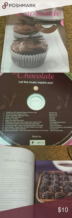 🍫The Food & the Music -Chocolate Recipes Introduction Chocolate Heaven Baked to Perfection Crumbly Cookies & Heavenly Bites Cool Chocolate Little Drinks and Luxury Drinks  Never used 223 pgs of recipes Accessories