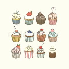 Get this hi-res stock vector Set of 12 vector hand drawn cupcakes. Buy as single download or save up to 90% with a subscription.