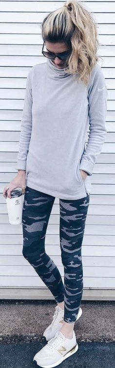 #winter #outfits grey blouse, military leggings, sneakers