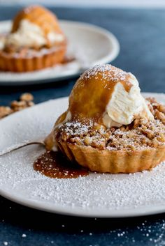 Apple and Walnut Crumble Tarts with Miso Butterscotch Ice Cream