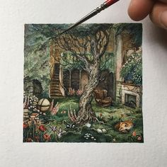 Just adding the finishing touches on this Secret Garden-inspired Library commission. Thanks for this enchanting request Meghan! Fantasy Illustration, Watercolor Illustration, Watercolor Paintings, Watercolour, Fairytale Art, Pin Art, Sketchbook Inspiration, Art Inspo, Fantasy Art